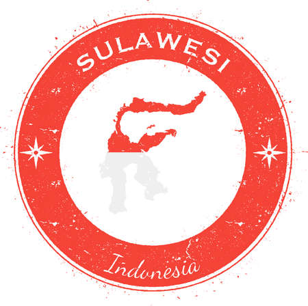 texturized: Sulawesi circular patriotic badge. Grunge rubber stamp with island flag, map and name written along circle border, vector illustration. Illustration