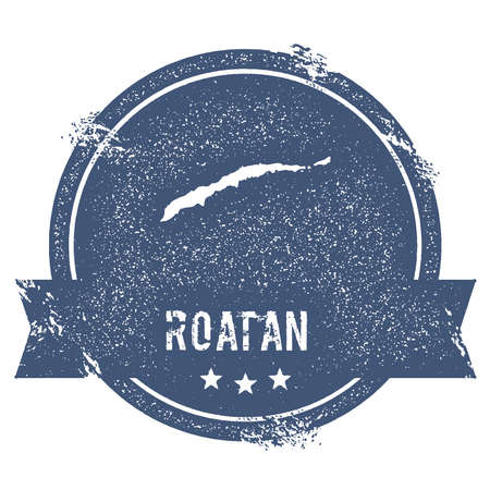 Roatan logo sign. Travel rubber stamp with the name and map of island, vector illustration. Can be used as insignia, logotype, label, sticker or badge. Illustration