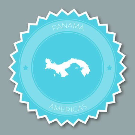 Panama badge flat design. Round flat style sticker of trendy colors with country map and name. Country badge vector illustration.