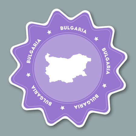 Bulgaria map sticker in trendy colors. Star shaped travel sticker with country name and map. Can be used as logo, badge, label, tag, sign, stamp or emblem. Travel badge vector illustration.