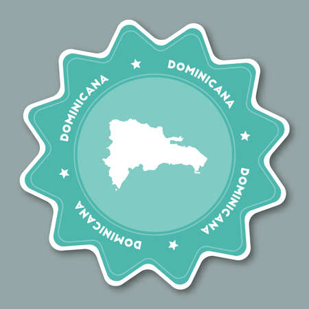 caribbean cruise: Dominican Republic map sticker in trendy colors. Star shaped travel sticker with country name and map. Can be used as logo, badge, label, tag, sign, stamp or emblem. Travel badge vector illustration.