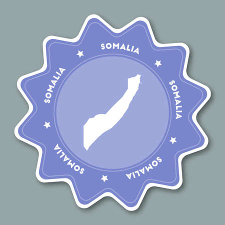 Somalia map sticker in trendy colors. Star shaped travel sticker with country name and map. Can be used as logo, badge, label, tag, sign, stamp or emblem. Travel badge vector illustration.