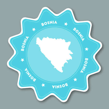 Bosnia and Herzegovina map sticker in trendy colors. Star shaped travel sticker with country name and map. Can be used as logo, badge, label, tag, sign, stamp or emblem.