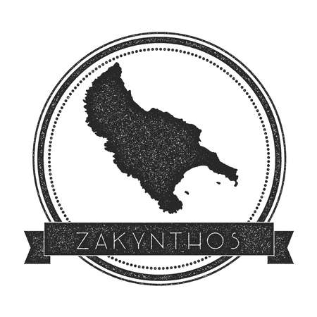 Zakynthos Island map stamp. Retro distressed insignia. Hipster round badge with text banner. Island vector illustration.