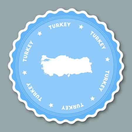 Turkey sticker flat design. Round flat style badges of trendy colors with country map and name. Country sticker vector illustration.