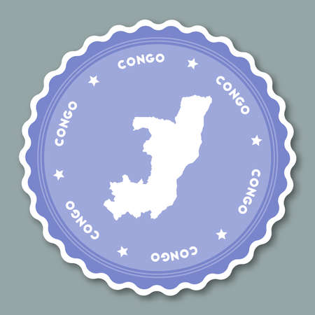 Congo sticker flat design. Round flat style badges of trendy colors with country map and name. Country sticker vector illustration. Illustration