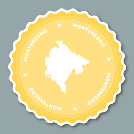 Montenegro sticker flat design. Round flat style badges of trendy colors with country map and name. Country sticker vector illustration.
