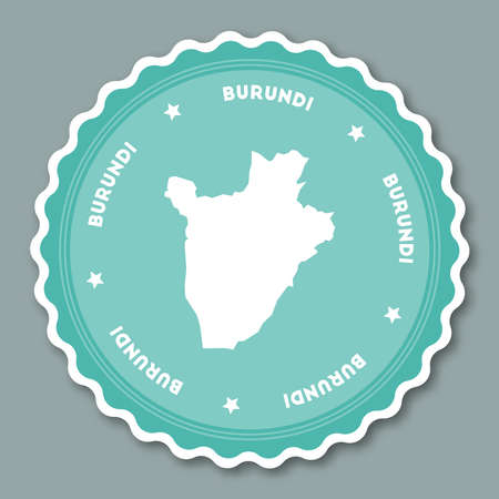 Burundi sticker flat design. Round flat style badges of trendy colors with country map and name. Country sticker vector illustration.