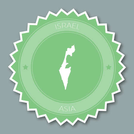 Israel badge flat design. Round flat style sticker of trendy colors with country map and name. Country badge vector illustration.