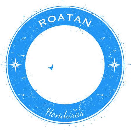 Roatan circular patriotic badge. Grunge rubber stamp with island flag, map and name written along circle border, vector illustration. Illustration