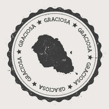nationalist: Graciosa sticker. Hipster round rubber stamp with island map. Vintage passport sign with circular text and stars, vector illustration.