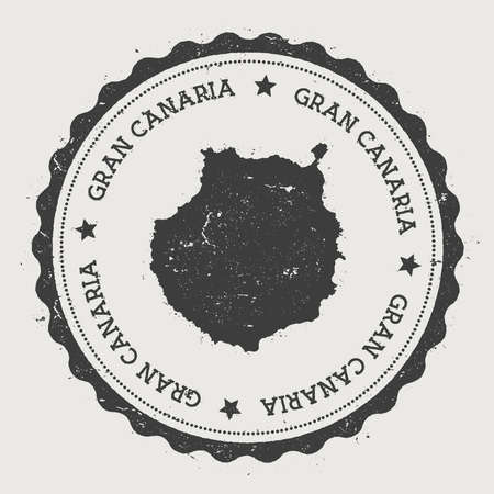 Gran Canaria sticker. Hipster round rubber stamp with island map. Vintage passport sign with circular text and stars, vector illustration.