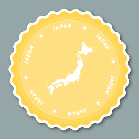 undefined: Japan sticker flat design. Round flat style badges of trendy colors with country map and name. Country sticker vector illustration. Illustration