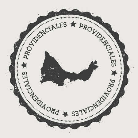Providenciales sticker. Hipster round rubber stamp with island map. Vintage passport sign with circular text and stars, vector illustration.