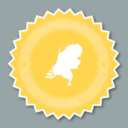 Netherlands badge flat design. Round flat style sticker of trendy colors with country map and name. Country badge vector illustration.