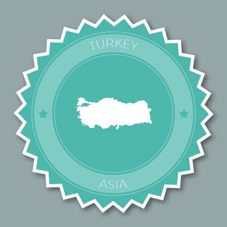 Turkey badge flat design. Round flat style sticker of trendy colors with country map and name. Country badge vector illustration.
