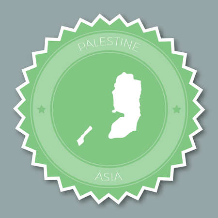 pals: Palestine badge flat design. Round flat style sticker of trendy colors with country map and name. Country badge vector illustration.
