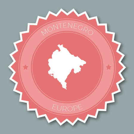 Montenegro badge flat design. Round flat style sticker of trendy colors with country map and name. Country badge vector illustration.