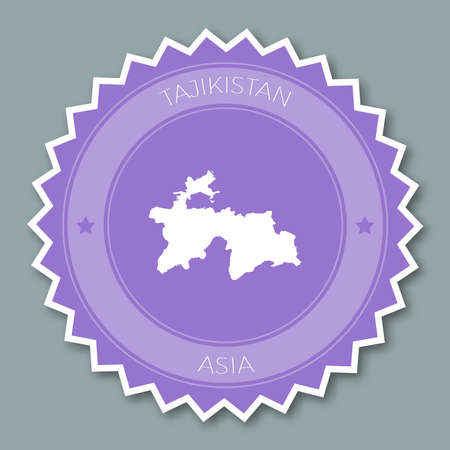 Tajikistan badge flat design. Round flat style sticker of trendy colors with country map and name. Country badge vector illustration. Illustration