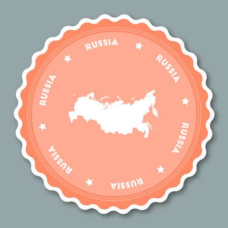 Russian Federation sticker flat design. Round flat style badges of trendy colors with country map and name. Country sticker vector illustration. Illustration
