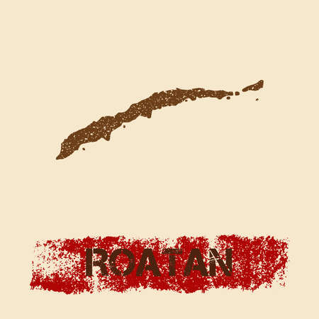 Roatan distressed map. Grunge patriotic poster with textured island ink stamp and roller paint mark, vector illustration. Illustration