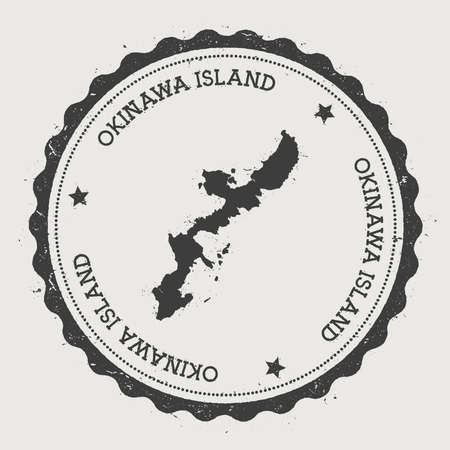 Okinawa Island sticker. Hipster round rubber stamp with island map. Vintage passport sign with circular text and stars, vector illustration.