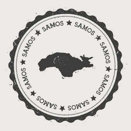 texturized: Samos sticker. Hipster round rubber stamp with island map. Vintage passport sign with circular text and stars, vector illustration.