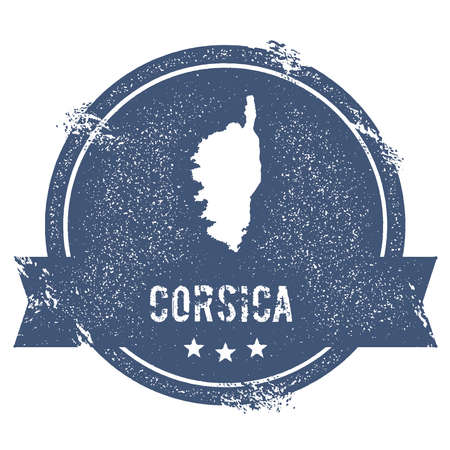 Corsica-Logo-Zeichen. Reisestempel mit dem Namen und der Karte von Insel, Vektorillustration. Kann als Abzeichen, Logo, Etikett, Aufkleber oder Abzeichen verwendet werden. Logo