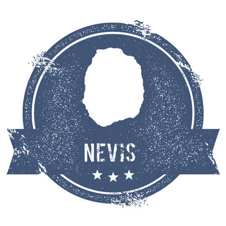 Nevis logo sign. Travel rubber stamp with the name and map of island, vector illustration. Can be used as insignia, logotype, label, sticker or badge.