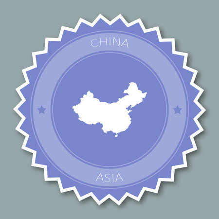 China badge flat design. Round flat style sticker of trendy colors with country map and name. Country badge vector illustration.