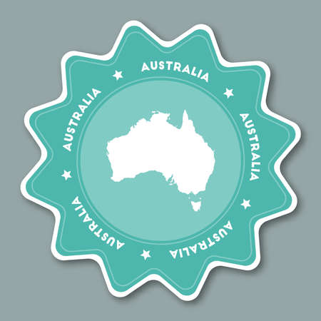oceania: Australia map sticker in trendy colors. Star shaped travel sticker with country name and map. Can be used as logo, badge, label, tag, sign, stamp or emblem. Travel badge vector illustration.