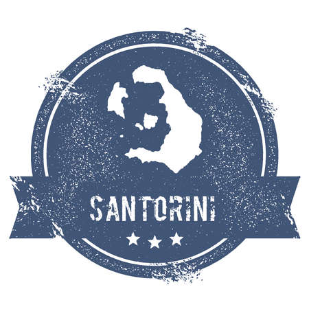 Santorini logo sign. Travel rubber stamp with the name and map of island, vector illustration. Can be used as insignia, logotype, label, sticker or badge. Иллюстрация