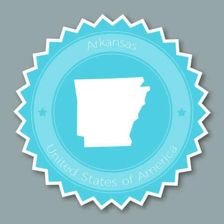Arkansas badge flat design. Round flat style sticker of trendy colors with the state map and name. US state badge vector illustration. Illustration