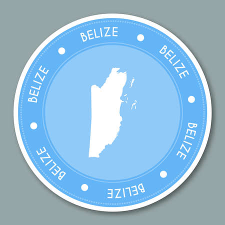 simplification: Belize label flat sticker design. Patriotic country map round lable. Country sticker vector illustration. Illustration