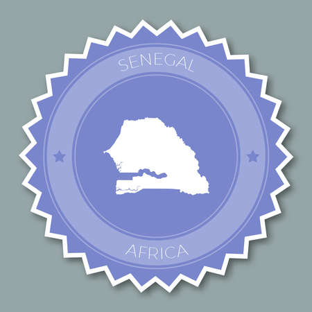 Senegal badge flat design. Round flat style sticker of trendy colors with country map and name. Country badge vector illustration.