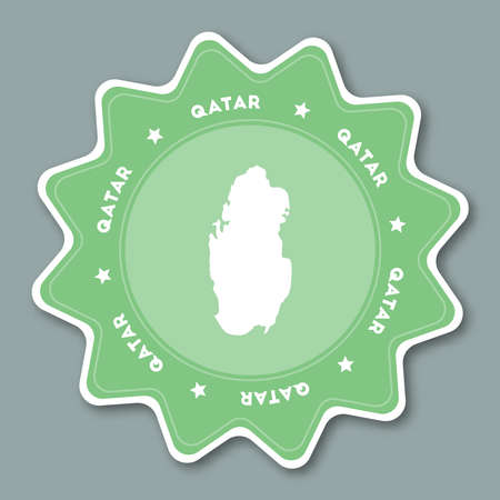 boundary: Qatar map sticker in trendy colors. Star shaped travel sticker with country name and map. Can be used as logo, badge, label, tag, sign, stamp or emblem. Travel badge vector illustration.
