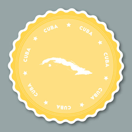 Cuba sticker flat design. Round flat style badges of trendy colors with country map and name. Country sticker vector illustration.