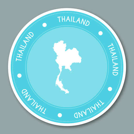 Thailand label flat sticker design. Patriotic country map round lable. Country sticker vector illustration.