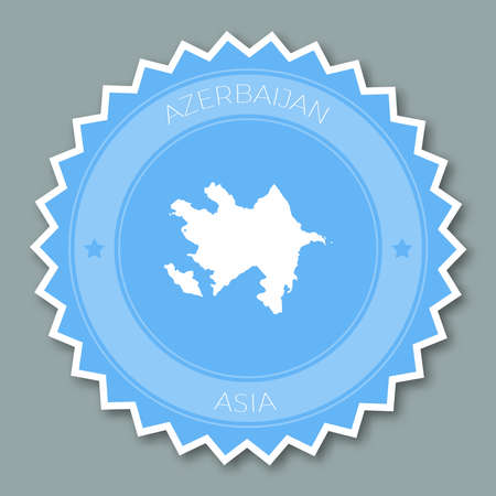 Azerbaijan badge flat design. Round flat style sticker of trendy colors with country map and name. Country badge vector illustration.