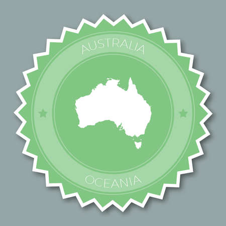 Australia badge flat design. Round flat style sticker of trendy colors with country map and name. Country badge vector illustration.