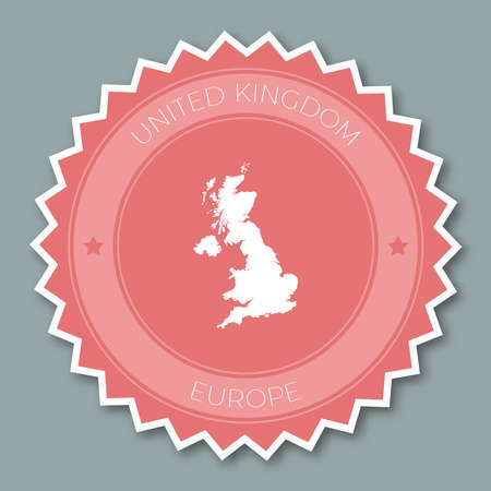 United Kingdom badge flat design. Round flat style sticker of trendy colors with country map and name. Country badge vector illustration. Illustration