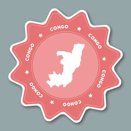 Congo map sticker in trendy colors. Star shaped travel sticker with country name and map. Can be used as logo, badge, label, tag, sign, stamp or emblem. Travel badge vector illustration.
