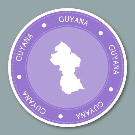 Guyana label flat sticker design. Patriotic country map round lable. Country sticker vector illustration.