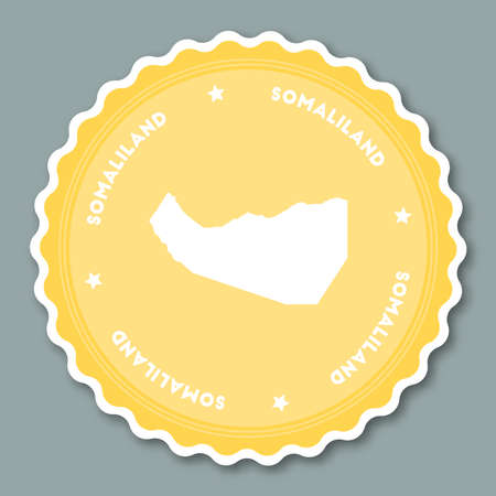 Somaliland sticker flat design. Round flat style badges of trendy colors with country map and name. Country sticker vector illustration. Illustration