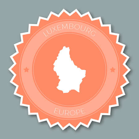 Design plano do emblema luxemburguês. Round flat style sticker of trendy colors with country map and name. Ilustração do vetor do emblema do país.