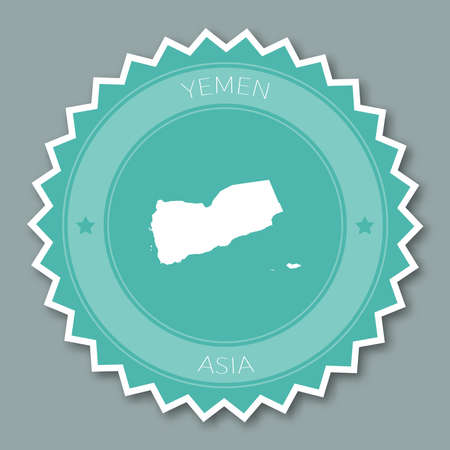 simplification: Yemen badge flat design. Round flat style sticker of trendy colors with country map and name. Country badge vector illustration. Illustration