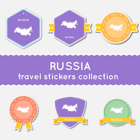 Russian Federation travel stickers collection. Big set of stickers with country map and name. Flat material style badges vector illustration. Çizim