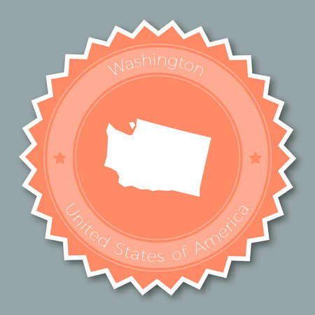 nationalist: Washington badge flat design. Round flat style sticker of trendy colors with the state map and name. US state badge vector illustration.