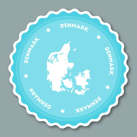 Denmark sticker flat design. Round flat style badges of trendy colors with country map and name. Country sticker vector illustration. Illustration