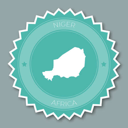 Niger badge flat design. Round flat style sticker of trendy colors with country map and name. Country badge vector illustration. Illustration